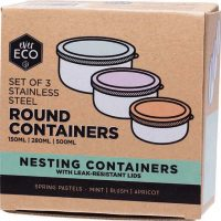Ever Eco Stainless Steel Containers Pastel 3 Pack