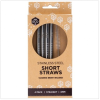 Ever Eco Straws Stainless Steel Short Straight 4 pack
